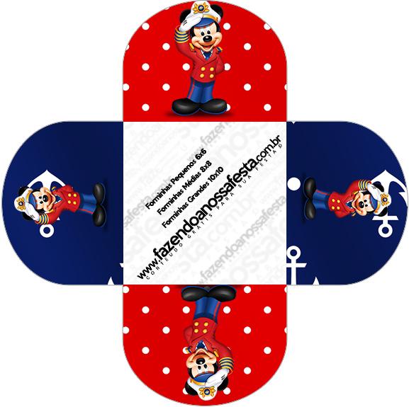 Forminhas Docinhos Redonda Mickey Marinheiro