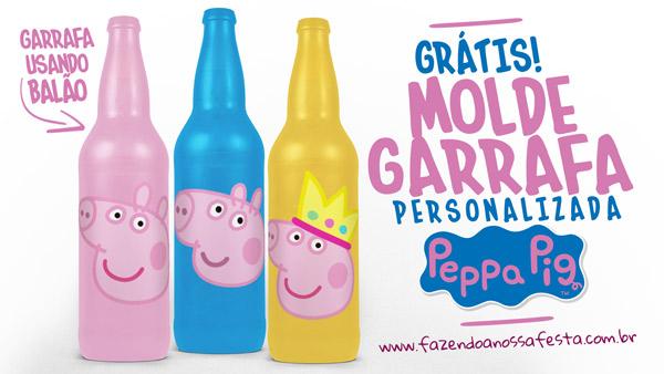 Garrafa Personalizada Peppa Pig com Bexiga Balão