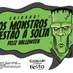 Plaquinhas divertidas Halloween Monstros a Solta