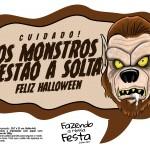 Plaquinhas divertidas Halloween Monstros estão a solta