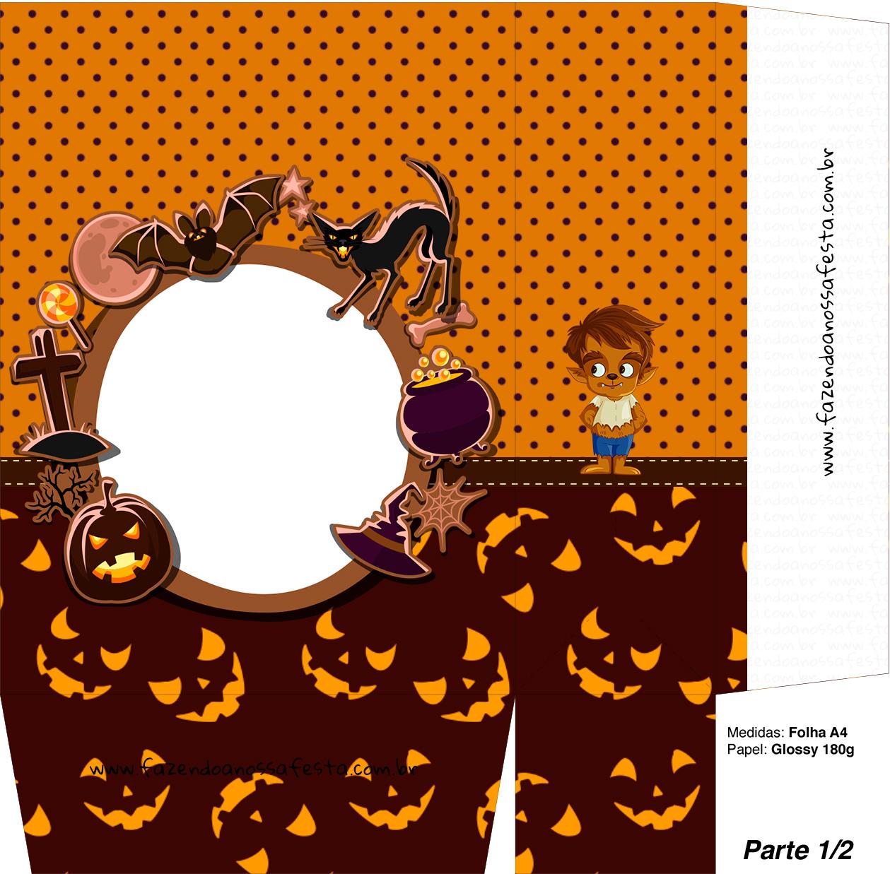 Sacolinha Halloween Lobisomem A4 - Parte 1