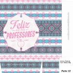 Sacolinha para Dia dos Professores Coruja Indie Rosa e Azul A4