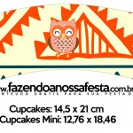 Saias Wrappers para Cupcakes 2 Corujinha Laranja Indie