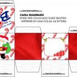 Caixa Bis Presente de Natal Papai Noel Vermelho Quadrada
