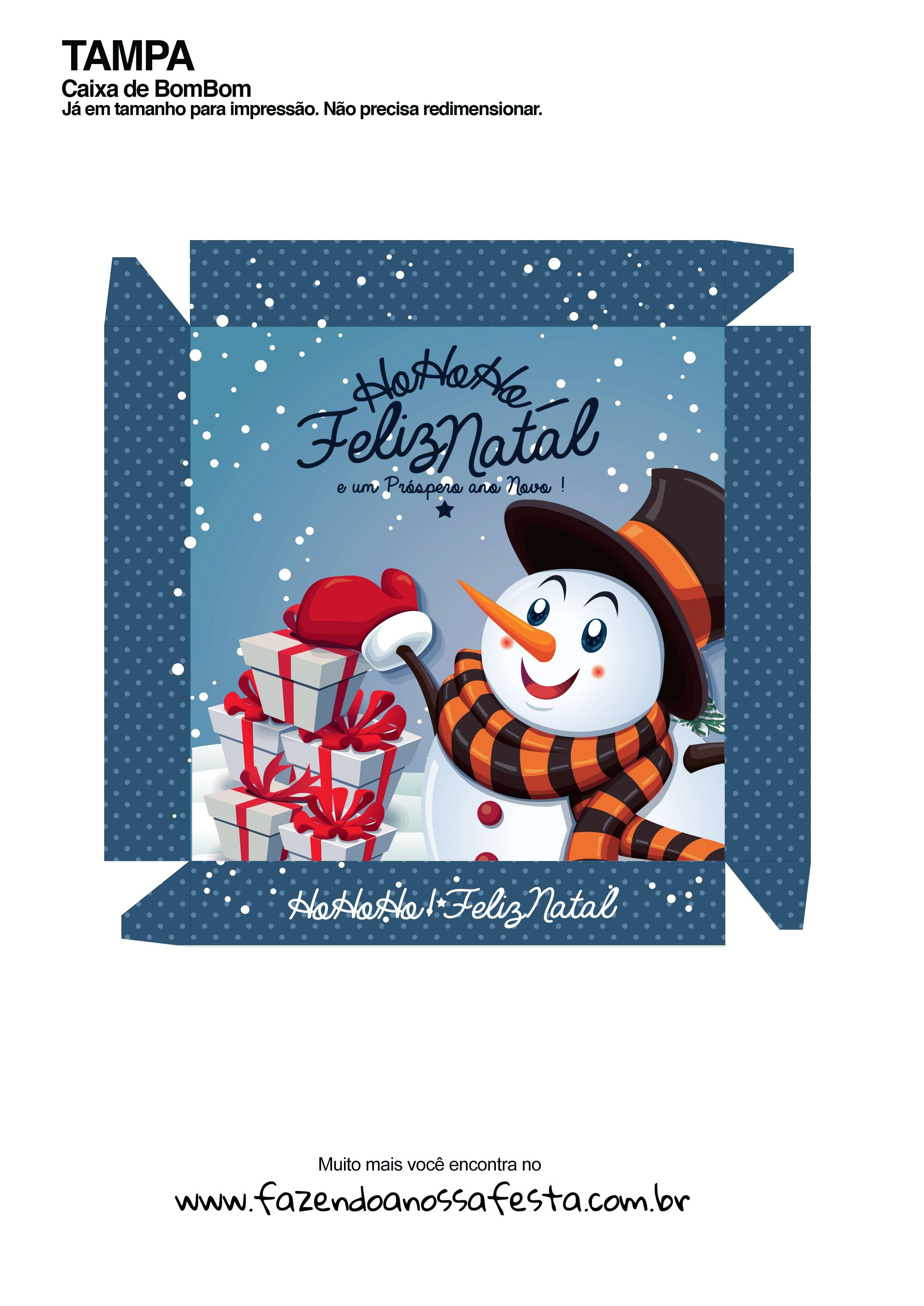 Caixa Personalizada Boneco de Neve para Natal - Frente