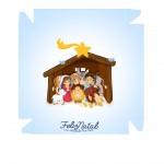 Caixa bombom Nascimento de Jesus Azul Claro - Frente