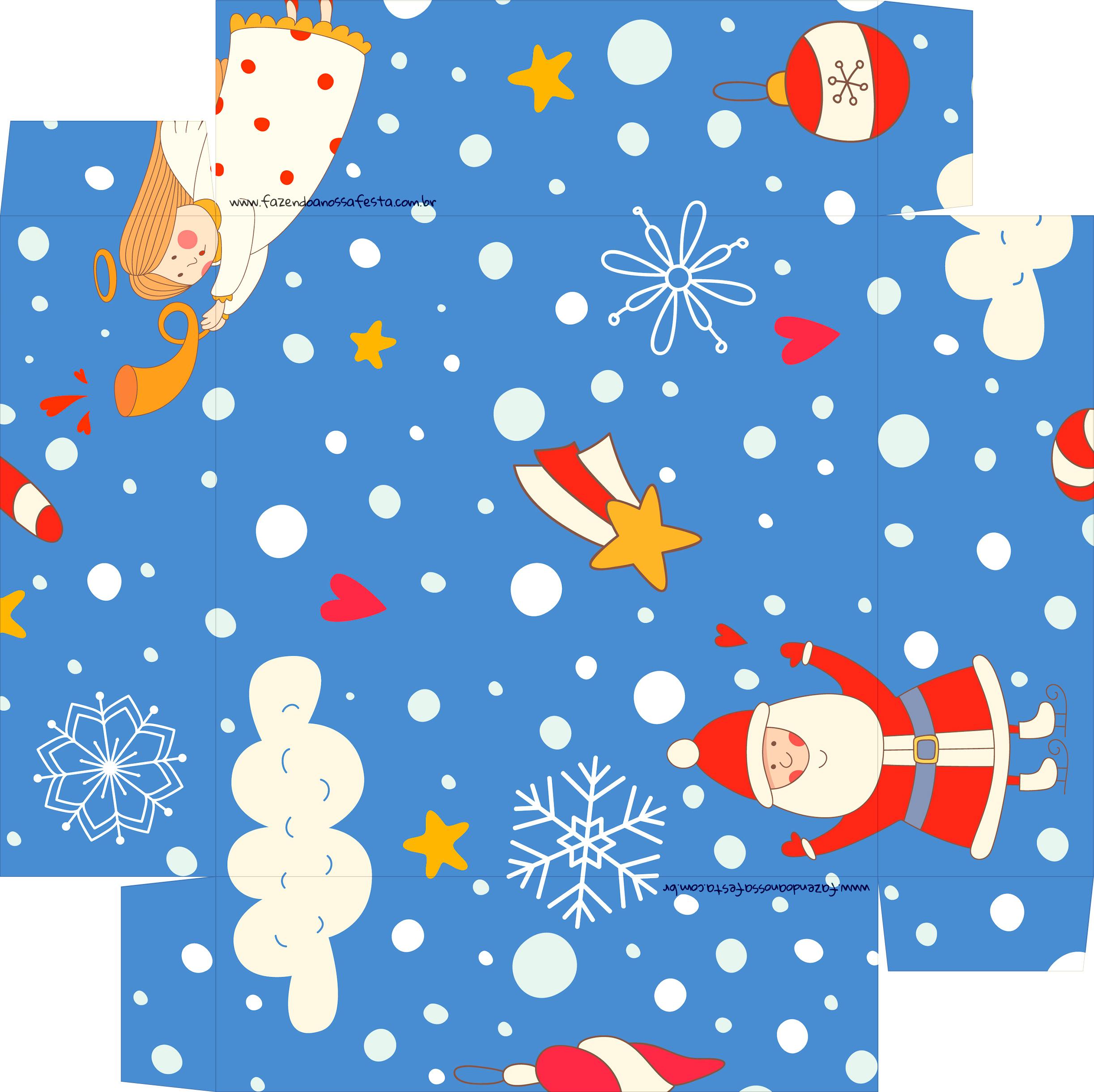 Caixa de Bombom Natal Azul Claro - Fundo