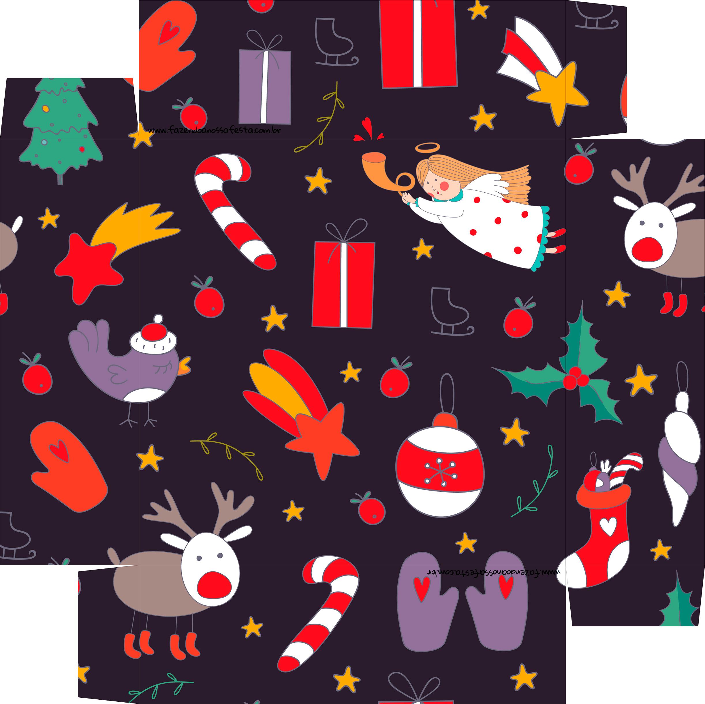 Caixa de Bombom Natal Roxa - fundo