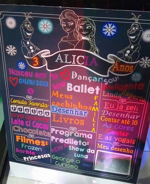 Chalkboard Festa Frozen da Alicia