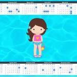 Convite Calendário 2015 Pool Party Menina