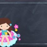 Convite Chalkboard Pool Party Menina