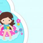 Convite para festa infantil Pool Party Menina