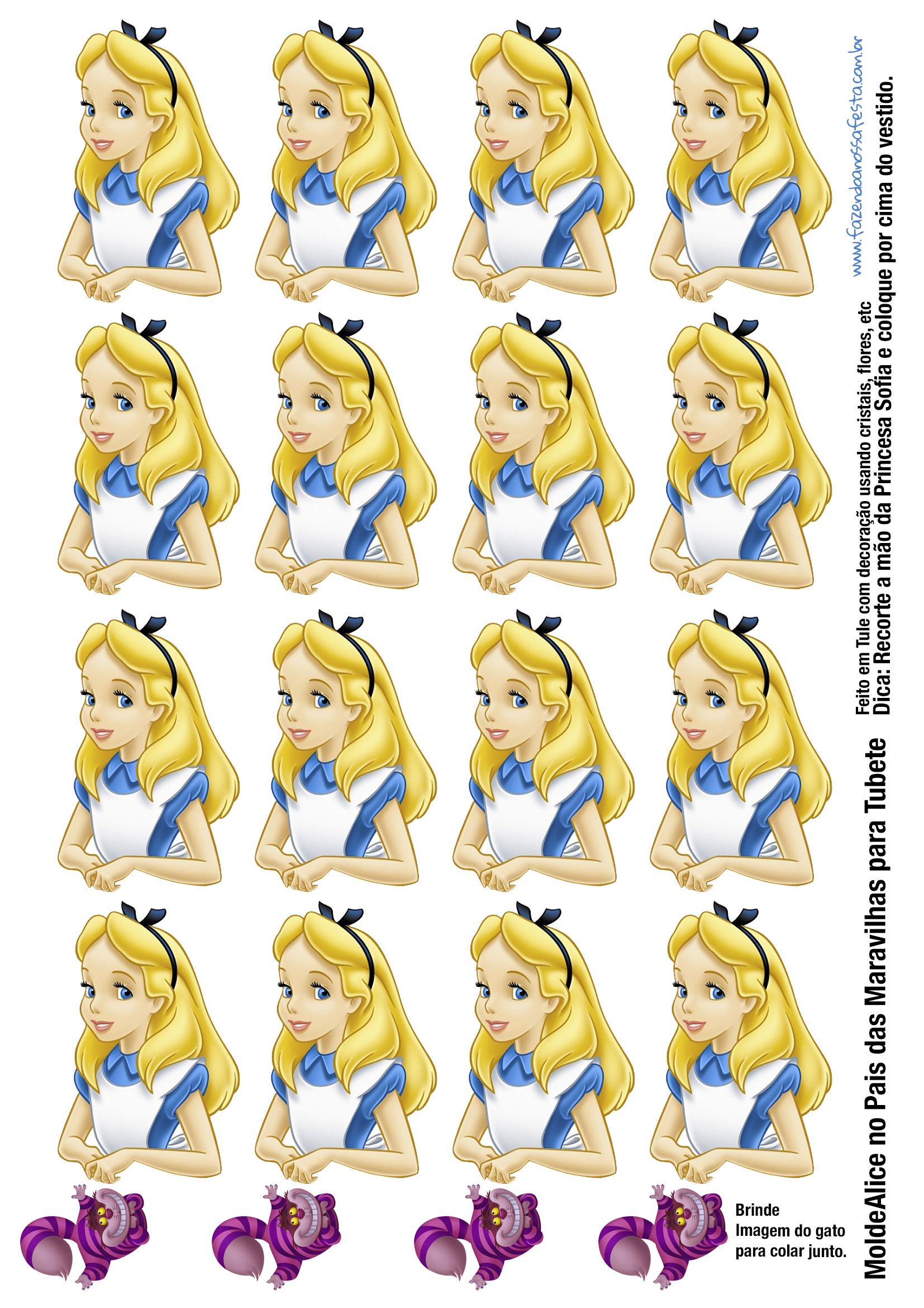 Molde Alice no País das Maravilhas para Tubete