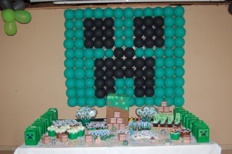Letras Minegraft Fazendo A Nossa Festa: Painel De Balões Creeper Festa Minecraft Do Lucas