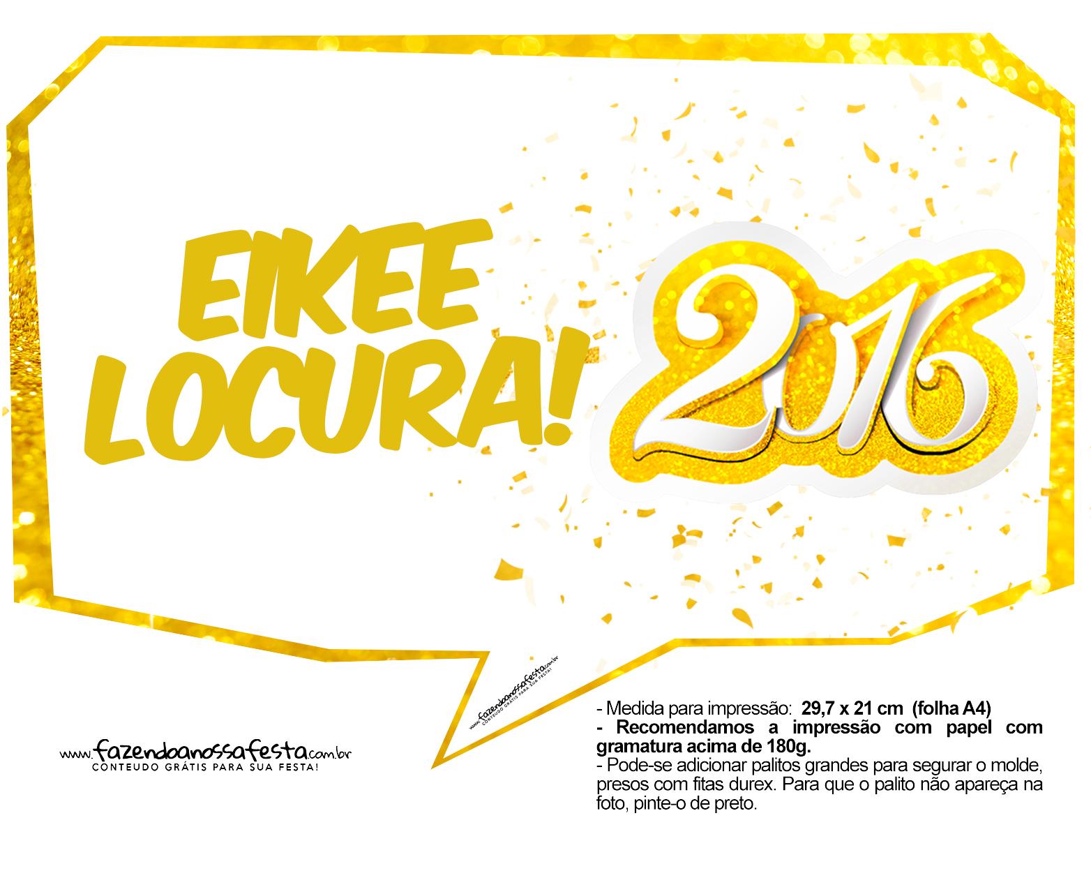 Plaquinha Divertida para Fotos 2016 Ano Novo 25