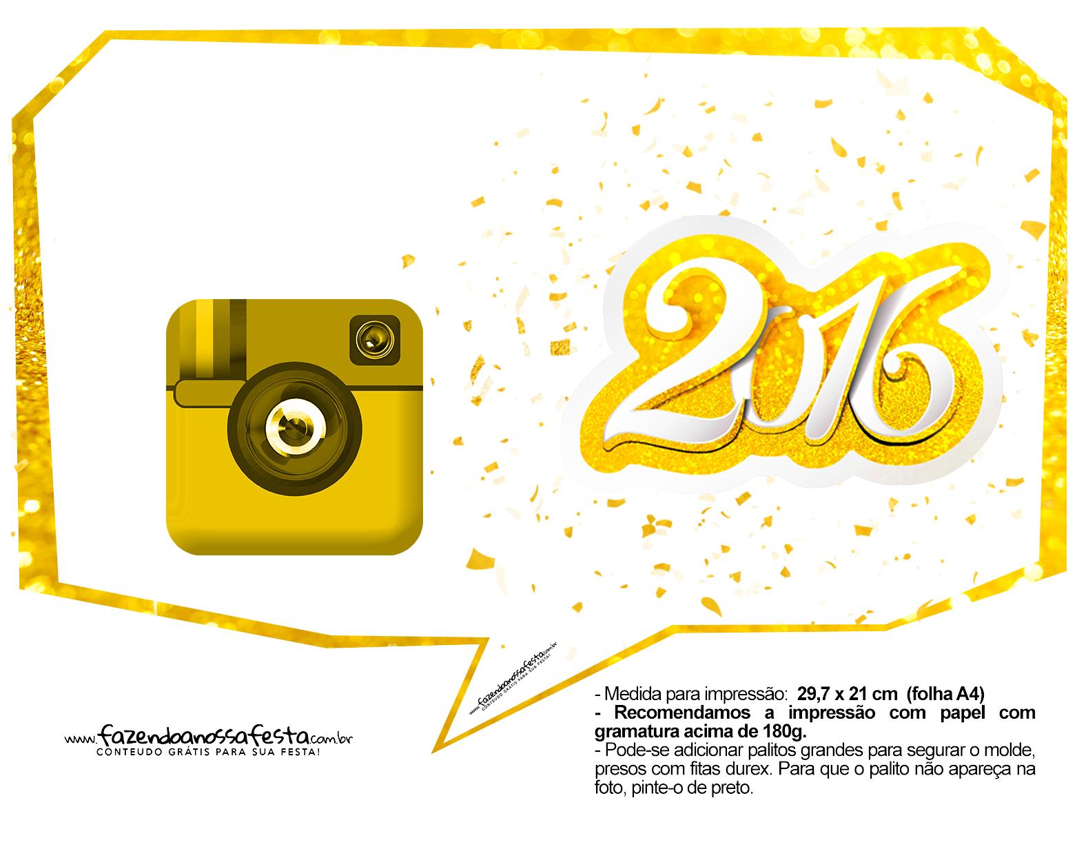 Plaquinha Divertida para Fotos 2016 Ano Novo 42