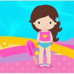 Rótulo Água Pool Party Menina
