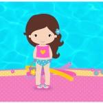 Rótulo Lata de Leite Pool Party Menina