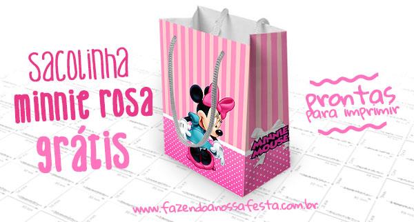 Sacolinha Surpresa Minnie Rosa para Imprimir