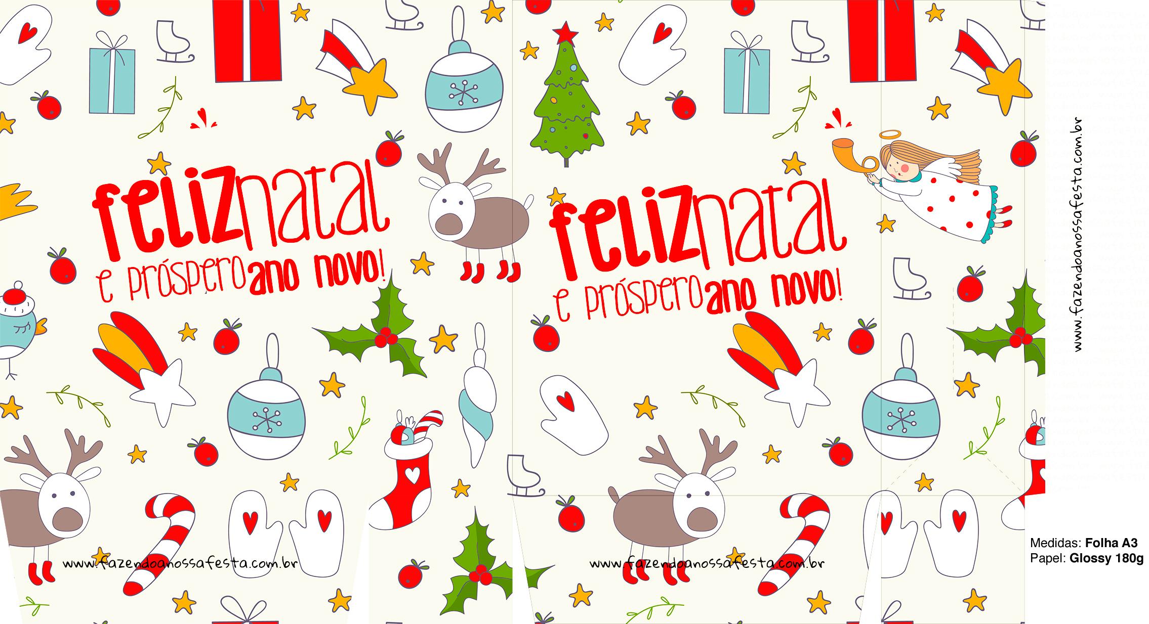 Sacolinha Natal Boas Festas Branca A3