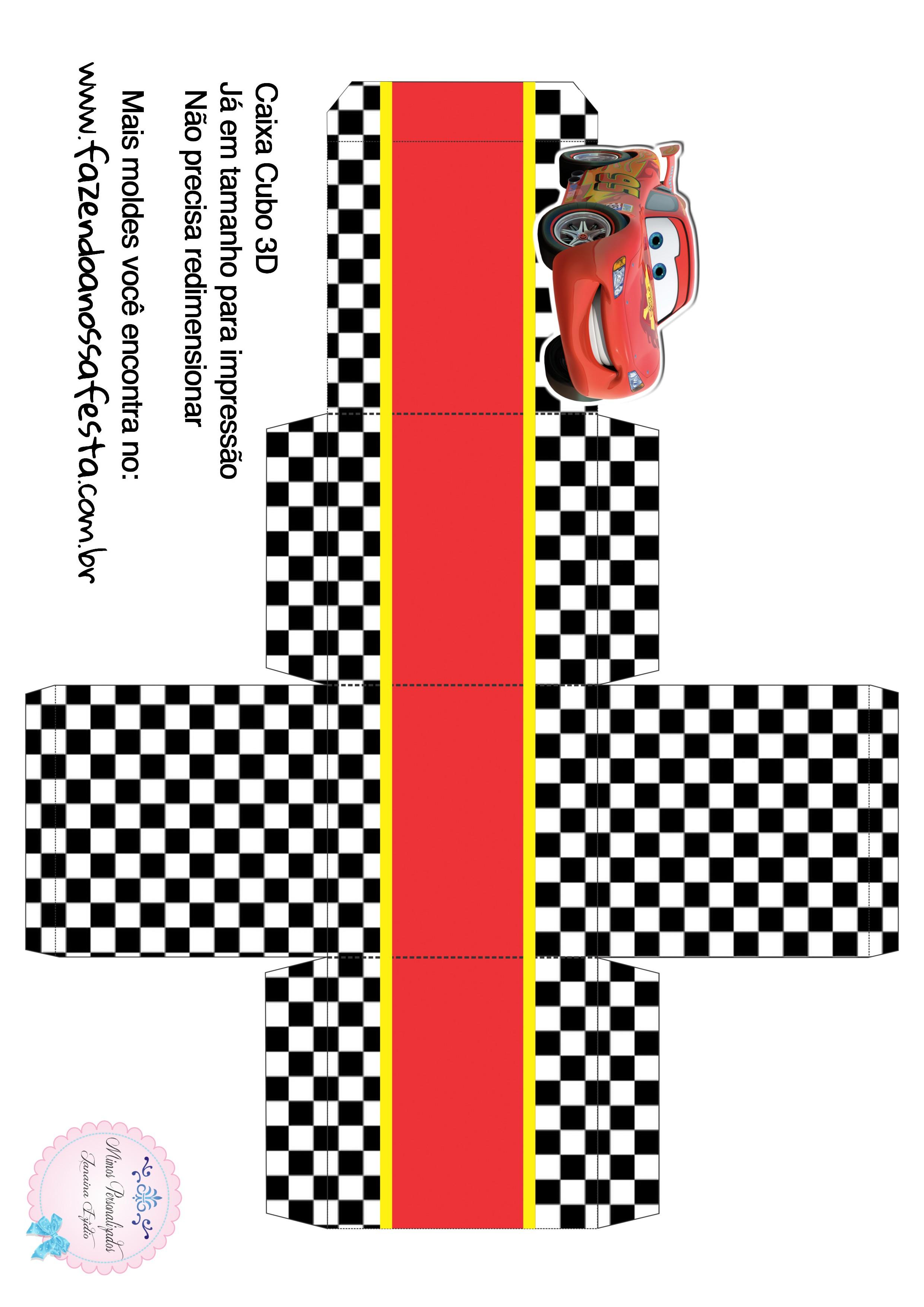 Caixa Cubo 3D Carros Disney
