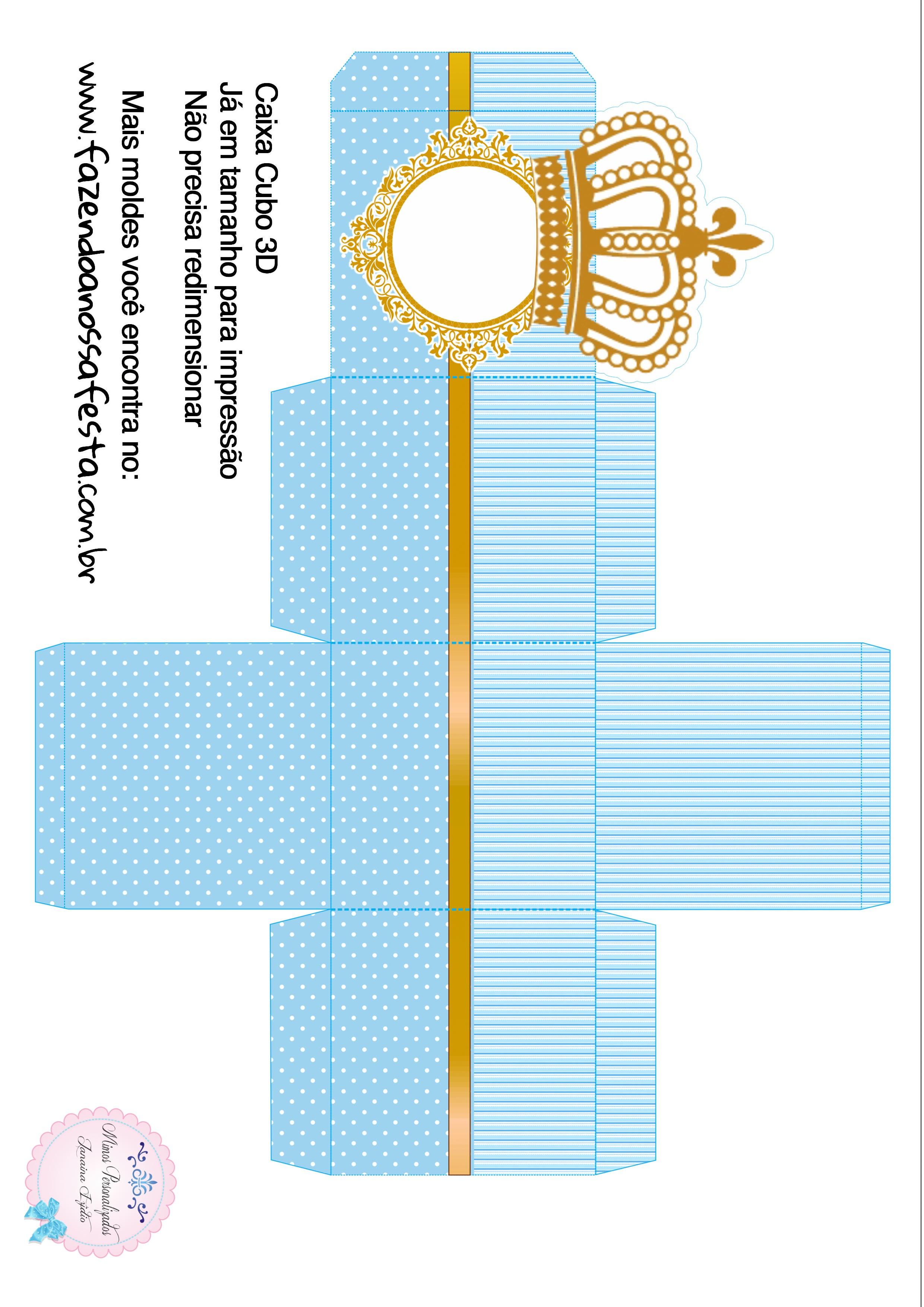 Caixa Cubo 3D Coroa Príncipe