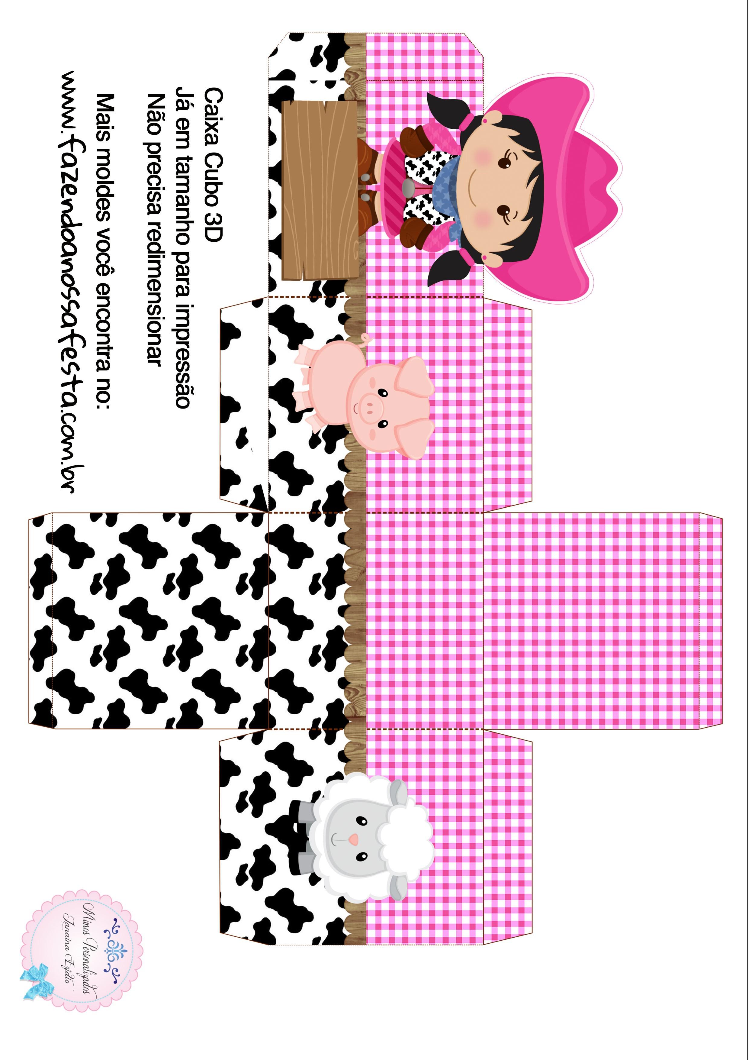 Caixa Cubo 3D Fazendinha Menina