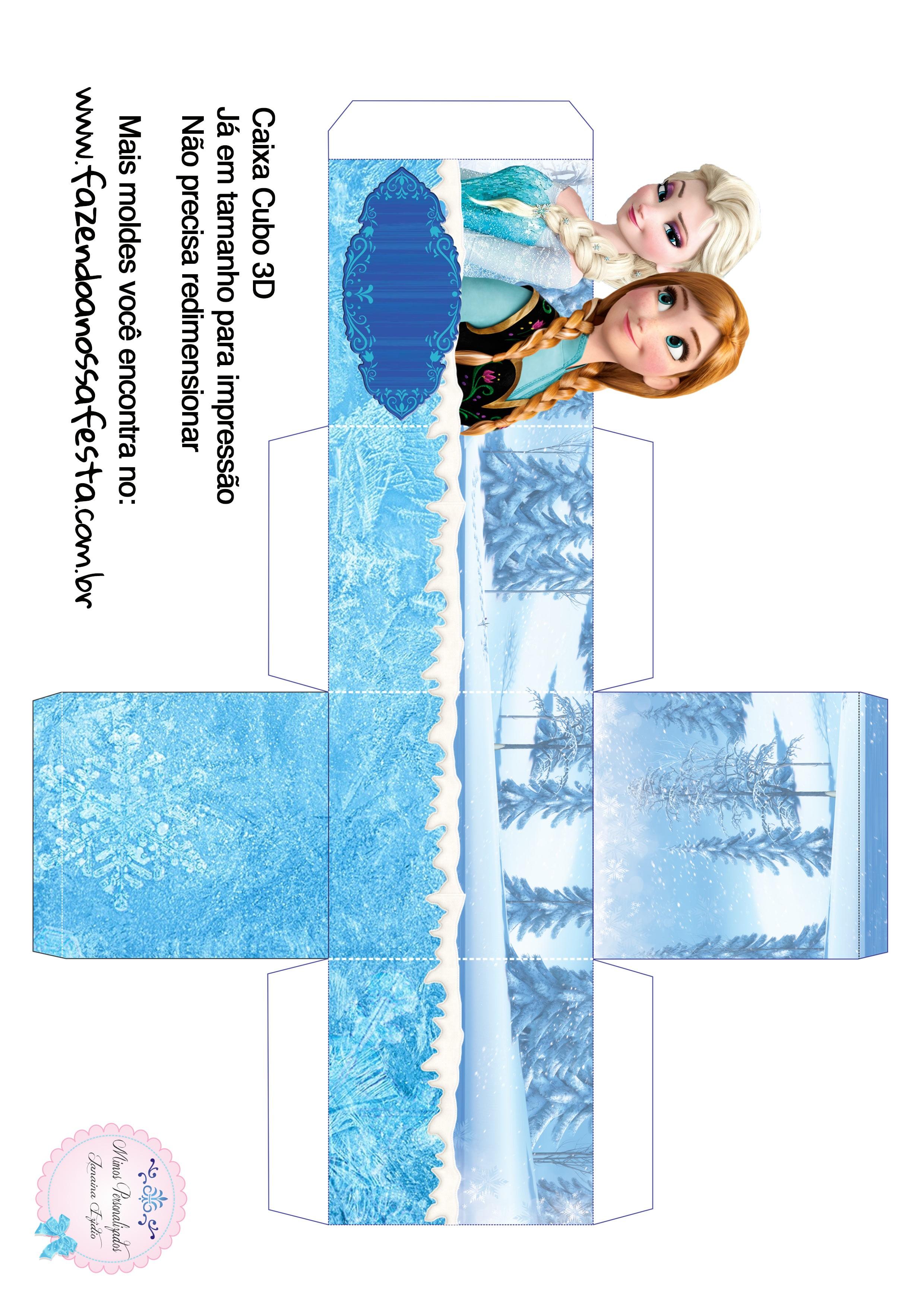 Caixa Cubo 3D Frozen