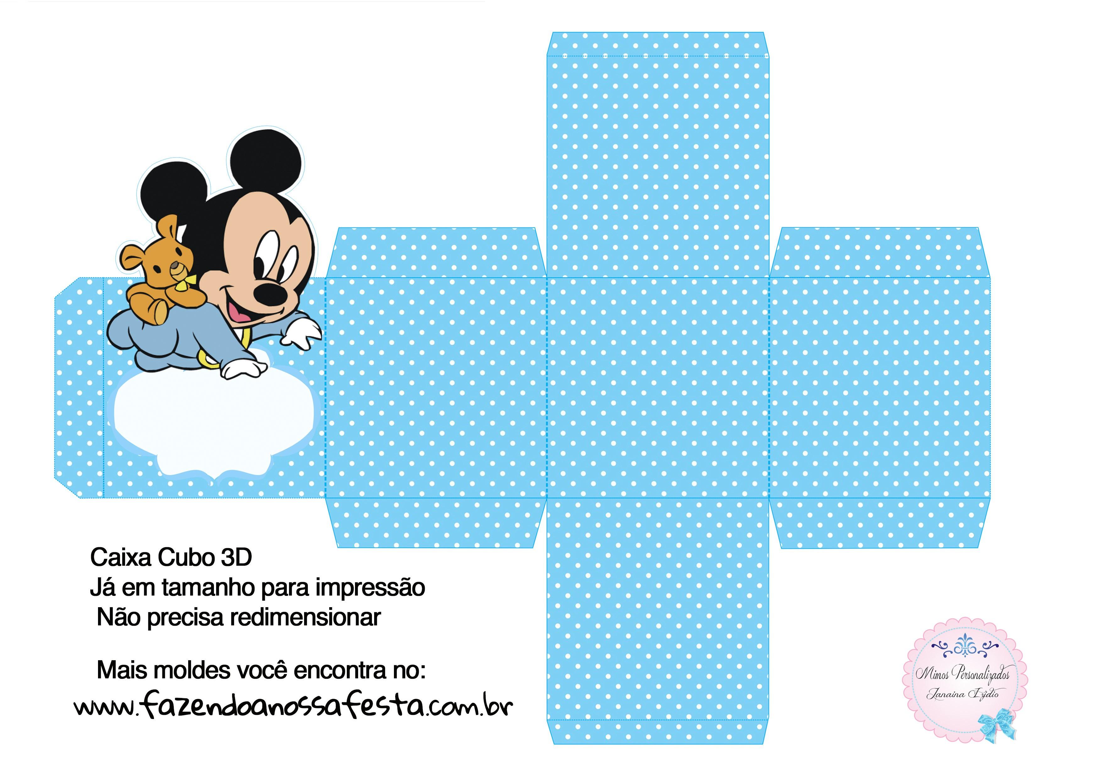 Caixa Cubo 3D Mickey Baby