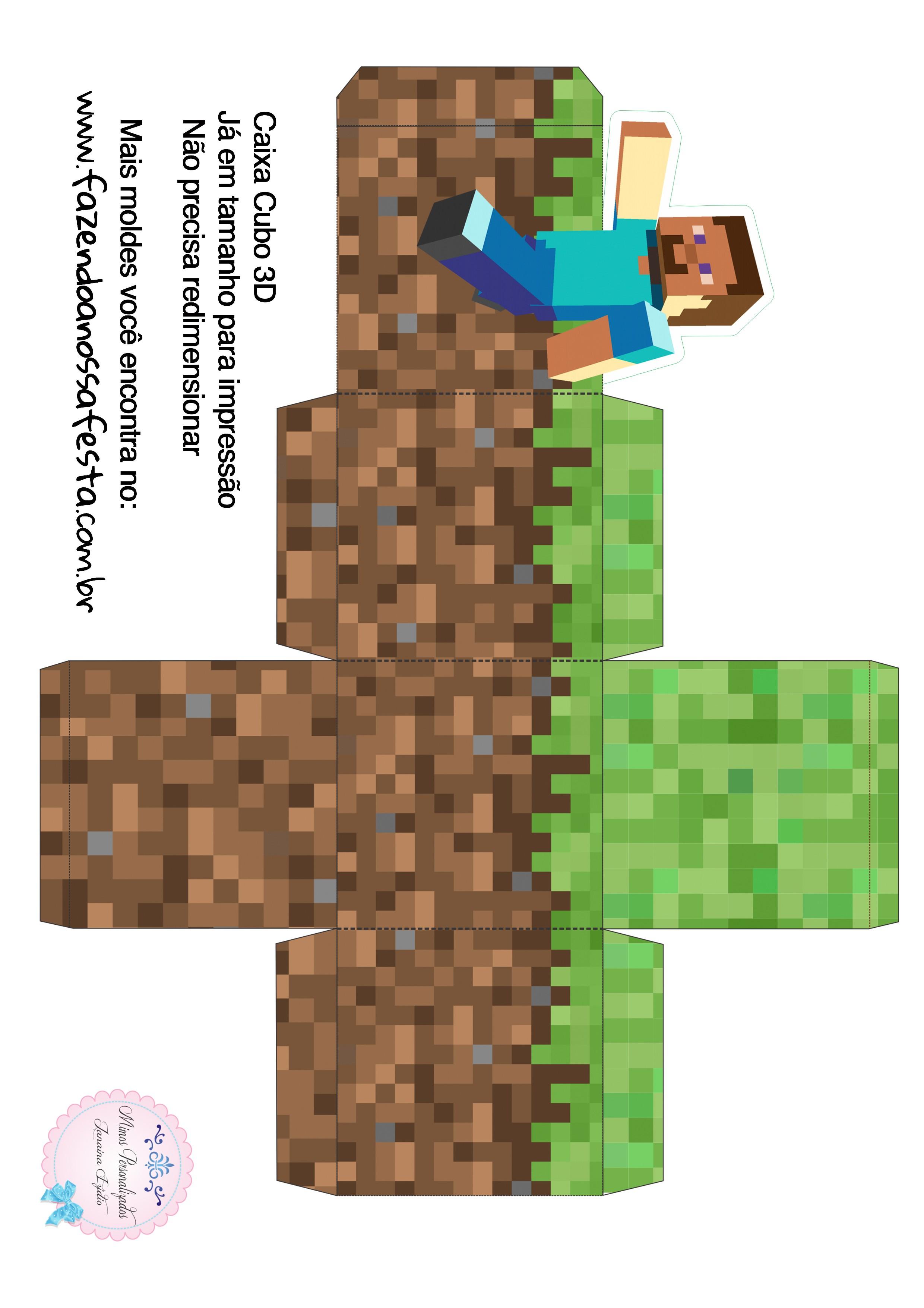Caixa Cubo 3D Minecraft