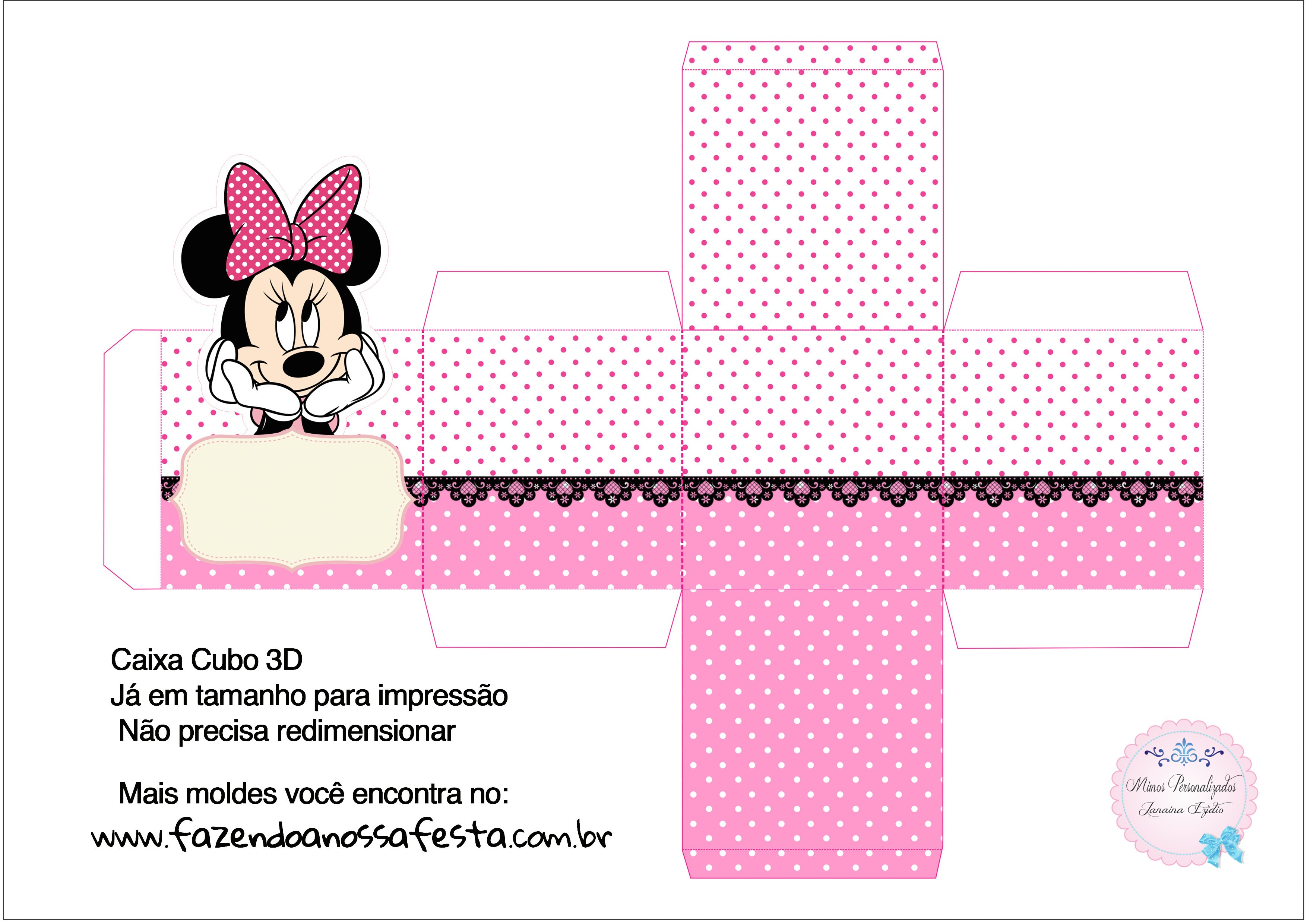 Caixa Cubo 3D Minnie Rosa