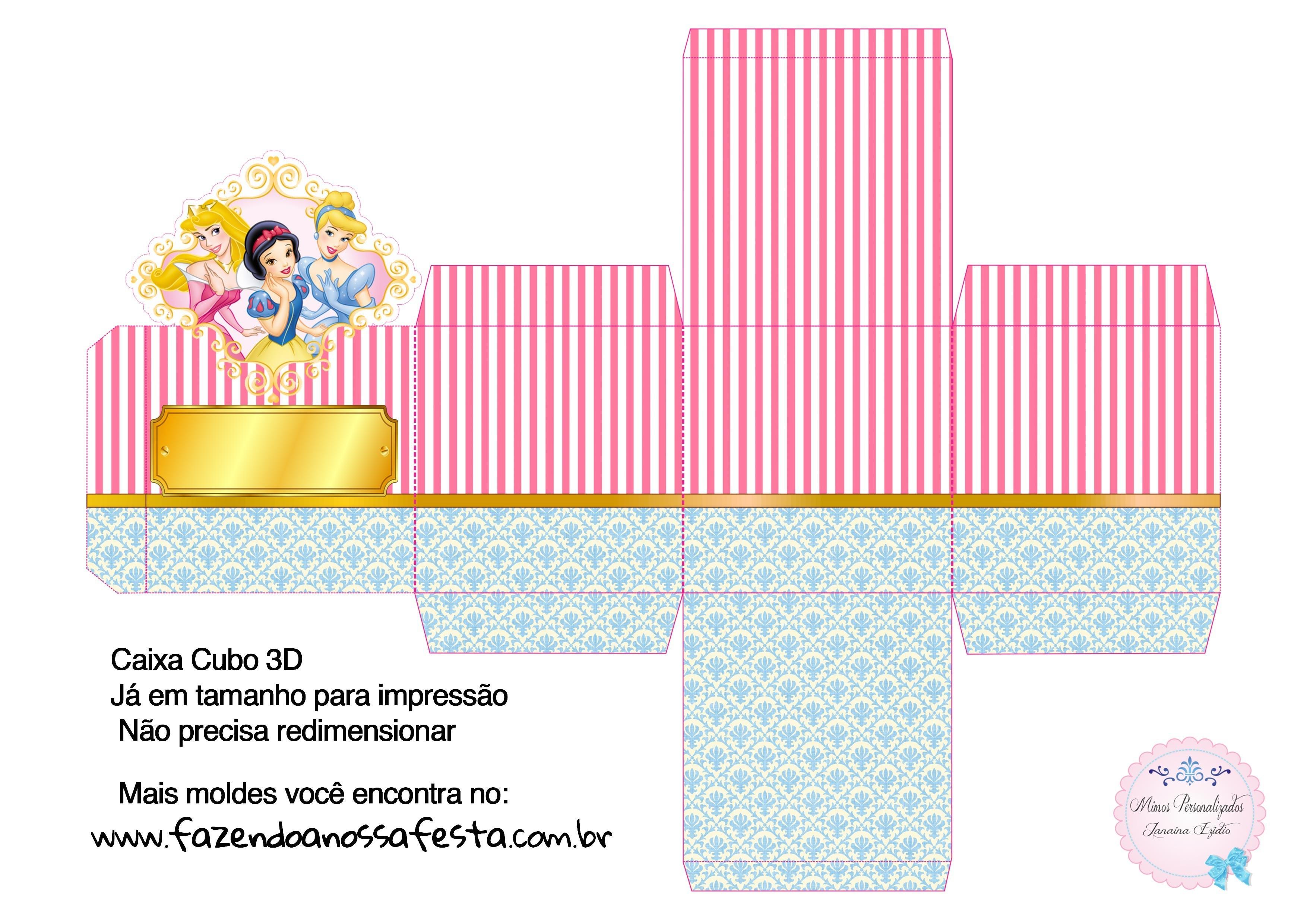 Caixa Cubo 3D Príncipe Azul Claro