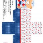 Caixa Cubo 3D Ursinho Marinheiro