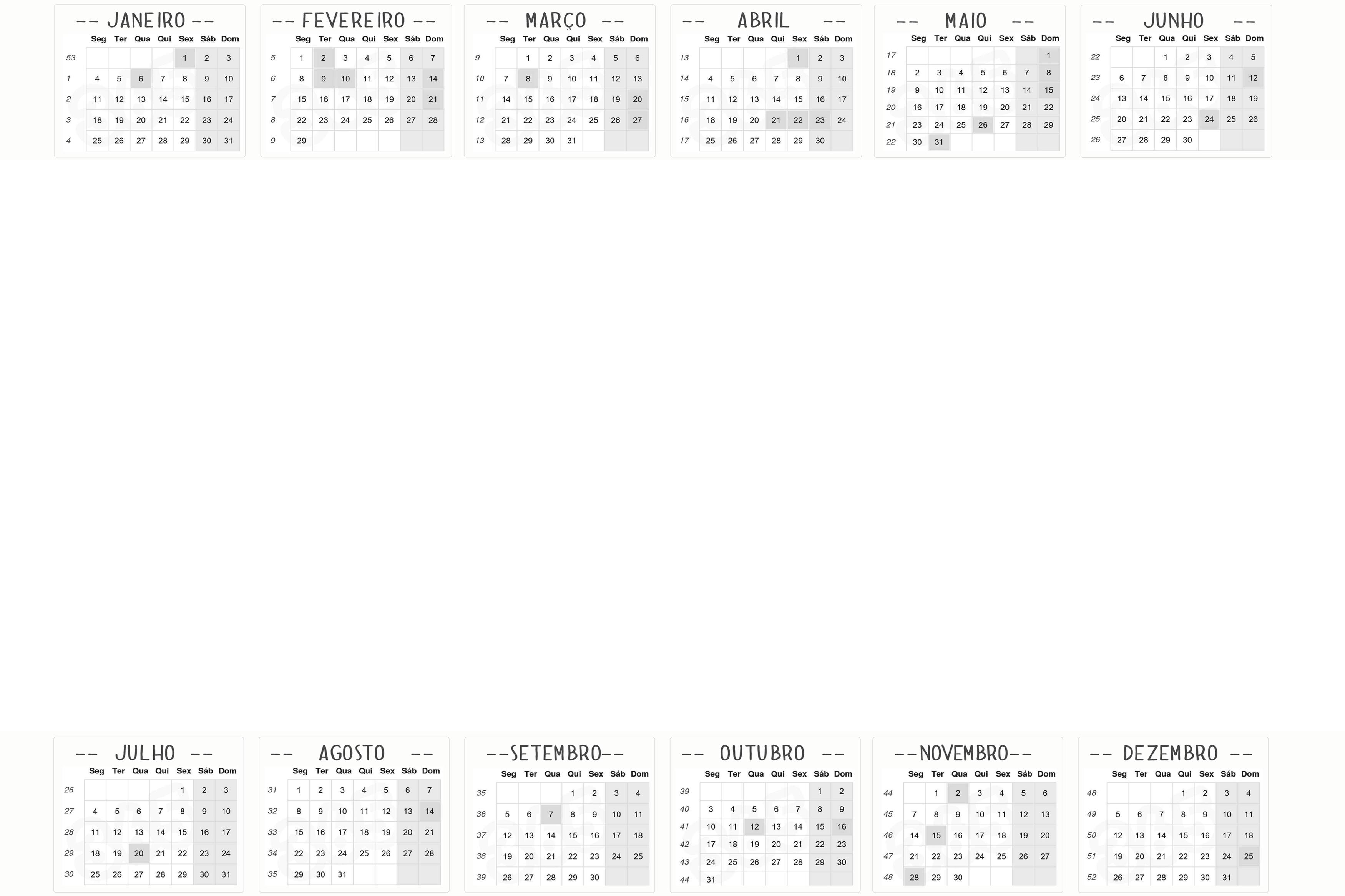 Calendário 2016 sem fundo