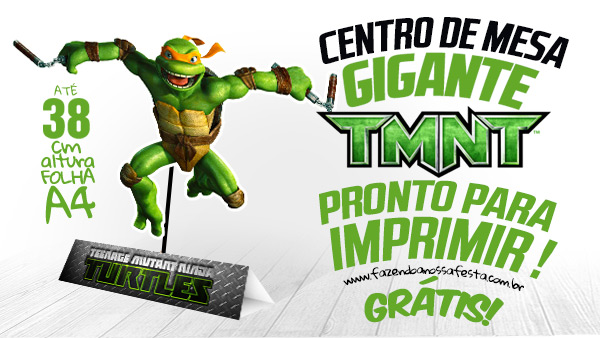 Centro de Mesa Tartarugas Ninjas para Imprimir