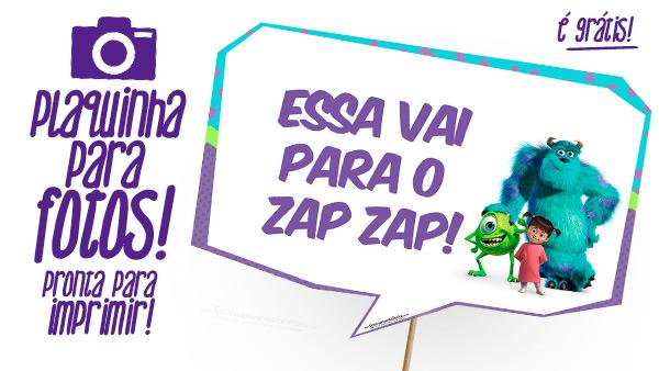 Plaquinha para Festa Monstros SA