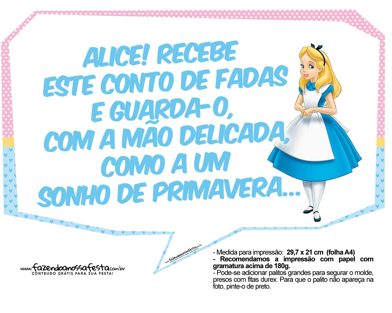 Plaquinhas Divertidas Alice no País das Maravilhas 13
