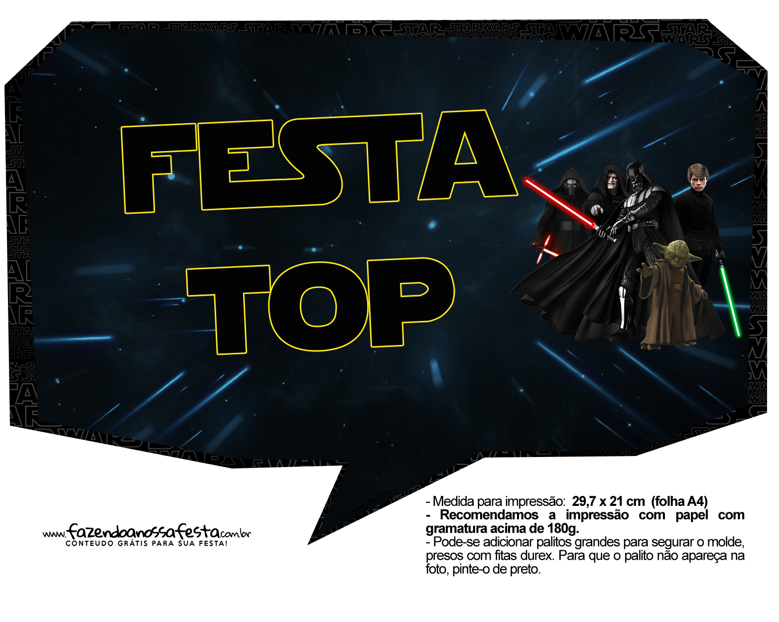 Plaquinhas para Festa Star Wars 10
