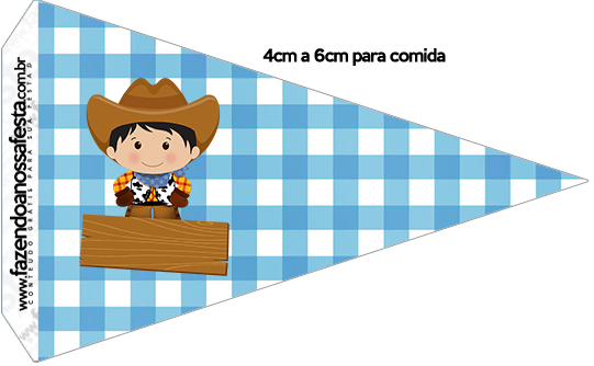 Bandeirinha Sanduiche 3 Kit Fazendinha Menino