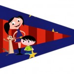 Bandeirinha Sanduiche 3 Show da Luna Azul e Vermelho
