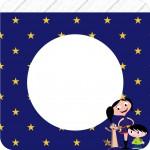 Bandeirinha Varalzinho Quadrada Show da Luna Azul e Vermelho