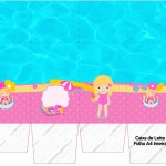 Caixa de Leite Personalizados Pool Party Menina Loira