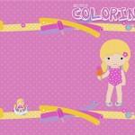 Capa Livrinho de Colorir Pool Party Menina Loira