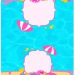 Cartão Agradecimento de Mesa Pool Party Menina Loira