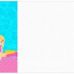 Convite, Cardápio ou Cronograma em Z Pool Party Menina Loira