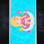 Convite Chalkboard Pool Party Menina Loira