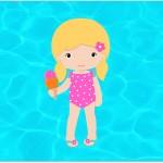 Convite ou Cartão para festa Pool Party Menina Loira