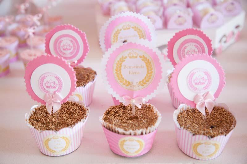 Cupcake Chá de Bebê Coroa de Princesa