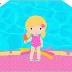 Envelope Convite Pool Party Menina Loira