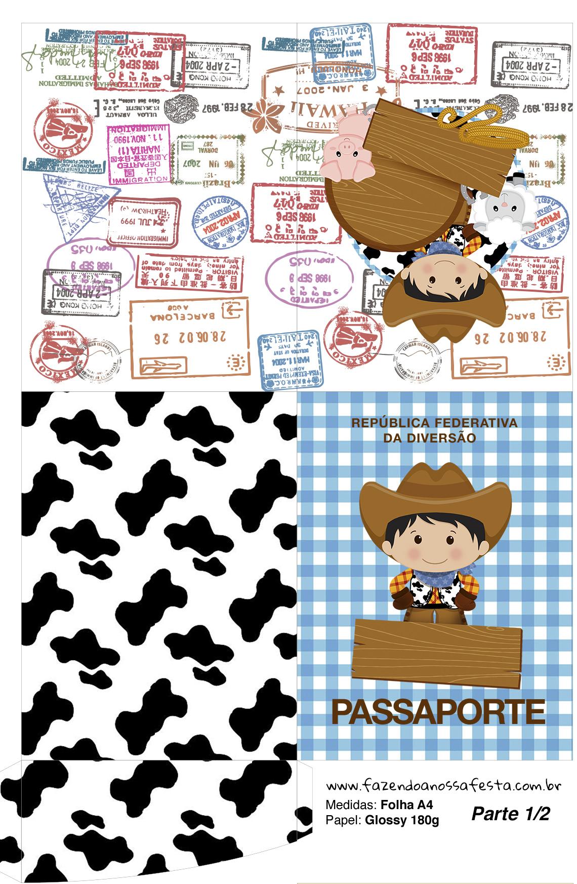 Passaporte Personalizados Fazendinha Menino